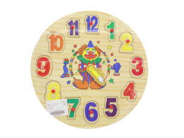 WOODEN Jigsaw CLOCK WITH PINS 23 CM.